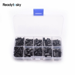 300pcs M3 Nylon Black M-F Hex Spacers Screw Nut Assortment Kit Stand-off Set for Quadcopter